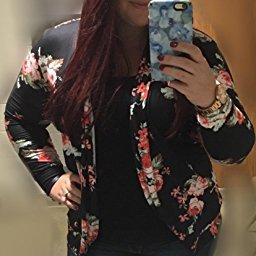 AMiERY Women's Floral Kimono Boyfriend Cardigan Open Front Fall Sweaters_4