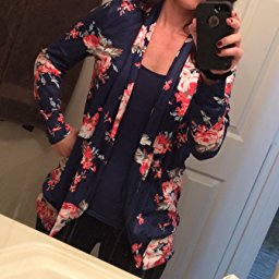 AMiERY Women's Floral Kimono Boyfriend Cardigan Open Front Fall Sweaters_5