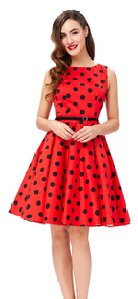 GRACE KARIN BoatNeck Sleeveless Vintage Tea Dress with Belt_5