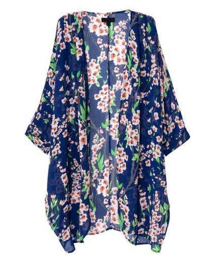 Olrain Women's Floral Print Sheer Chiffon Loose Kimono Cardigan ...