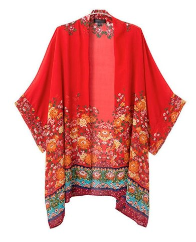 Olrain Women's Floral Print Sheer Chiffon Loose Kimono Cardigan Capes_2