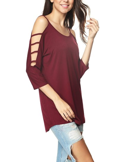 Women's Casual Loose Hollowed Out Shoulder Three Quarter Sleeve Shirts_3