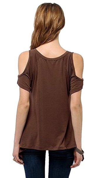 Women's Vogue Shoulder Off Wide Hem Design Top Shirt_2